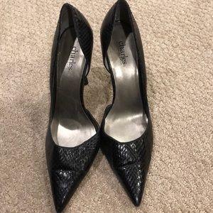Charles by Charles David snake skin black heels
